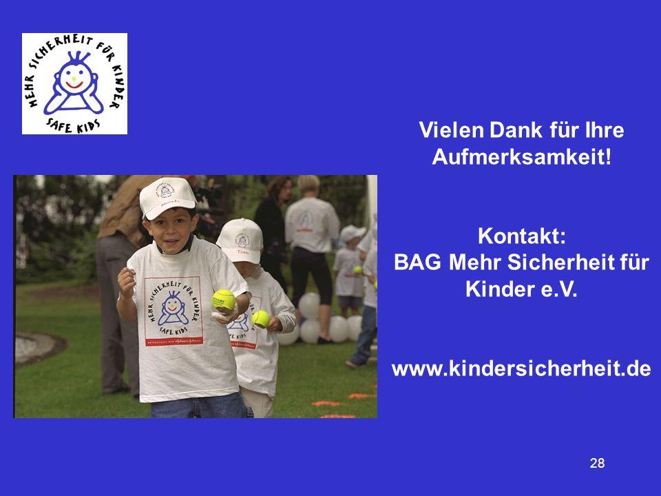 28 Vielen Dank für Ihre Aufmerksamkeit! Kontakt: BAG Mehr Sicherheit für Kinder e.V. www.kindersicherheit.de