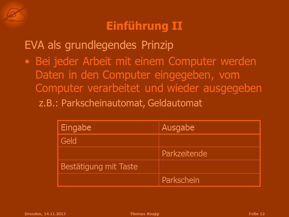 Dresden, 14.11.2013Thomas KnappFolie 12 Einführung II EVA als grundlegendes Prinzip Bei jeder Arbeit mit einem Computer werden Daten in den Computer e