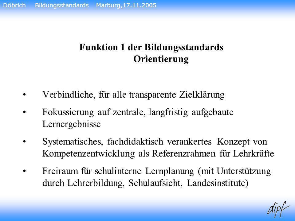 16 Funktion 1 der Bildungsstandards Orientierung Verbindliche, für alle transparente Zielklärung Fokussierung auf zentrale, langfristig aufgebaute Ler