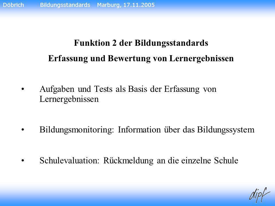 17 Funktion 2 der Bildungsstandards Erfassung und Bewertung von Lernergebnissen Aufgaben und Tests als Basis der Erfassung von Lernergebnissen Bildung