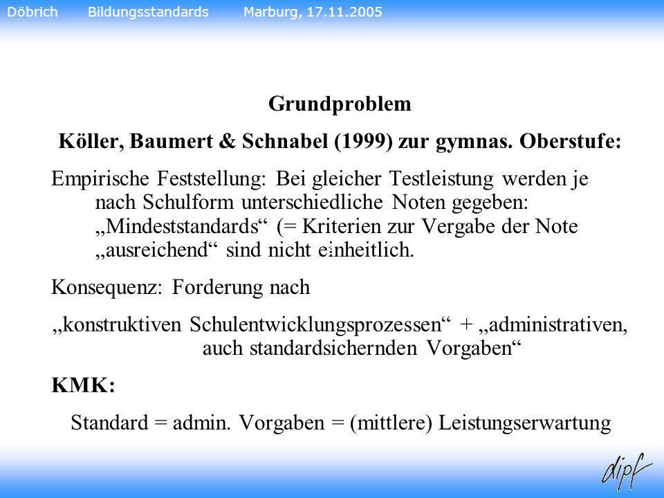 20 Grundproblem Köller, Baumert & Schnabel (1999) zur gymnas. Oberstufe: Empirische Feststellung: Bei gleicher Testleistung werden je nach Schulform u