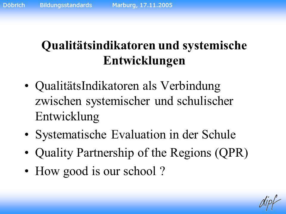 21 Qualitätsindikatoren und systemische Entwicklungen QualitätsIndikatoren als Verbindung zwischen systemischer und schulischer Entwicklung Systematis