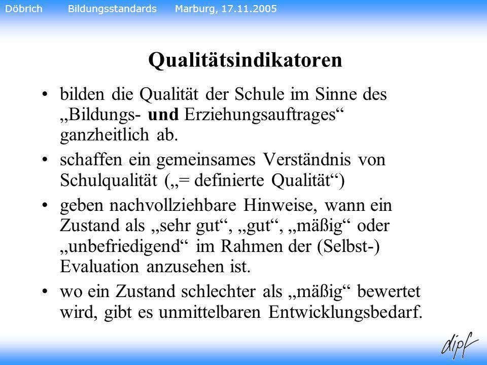 22 Qualitätsindikatoren bilden die Qualität der Schule im Sinne des Bildungs- und Erziehungsauftrages ganzheitlich ab. schaffen ein gemeinsames Verstä