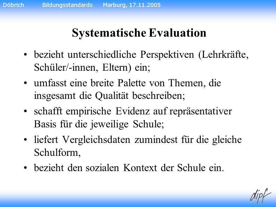 23 Systematische Evaluation bezieht unterschiedliche Perspektiven (Lehrkräfte, Schüler/-innen, Eltern) ein; umfasst eine breite Palette von Themen, di