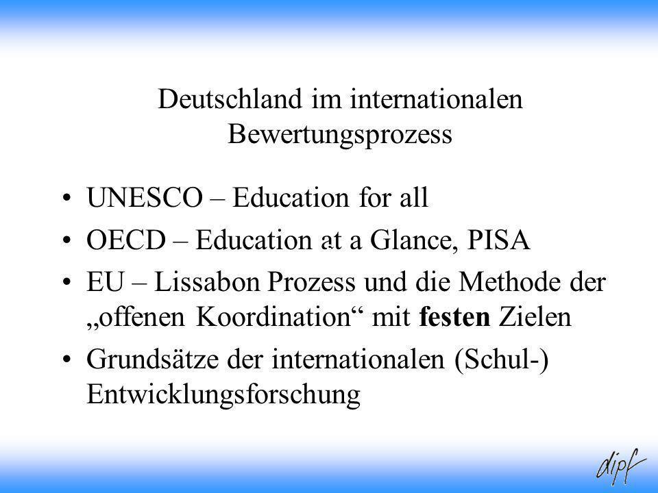 3 Deutschland im internationalen Bewertungsprozess UNESCO – Education for all OECD – Education at a Glance, PISA EU – Lissabon Prozess und die Methode