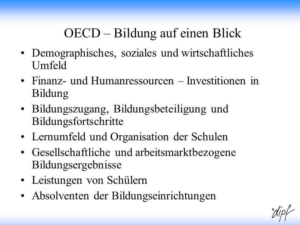 5 OECD – Bildung auf einen Blick Demographisches, soziales und wirtschaftliches Umfeld Finanz- und Humanressourcen – Investitionen in Bildung Bildungs