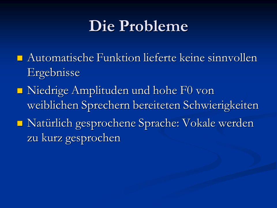 Die Probleme Automatische Funktion lieferte keine sinnvollen Ergebnisse Automatische Funktion lieferte keine sinnvollen Ergebnisse Niedrige Amplituden