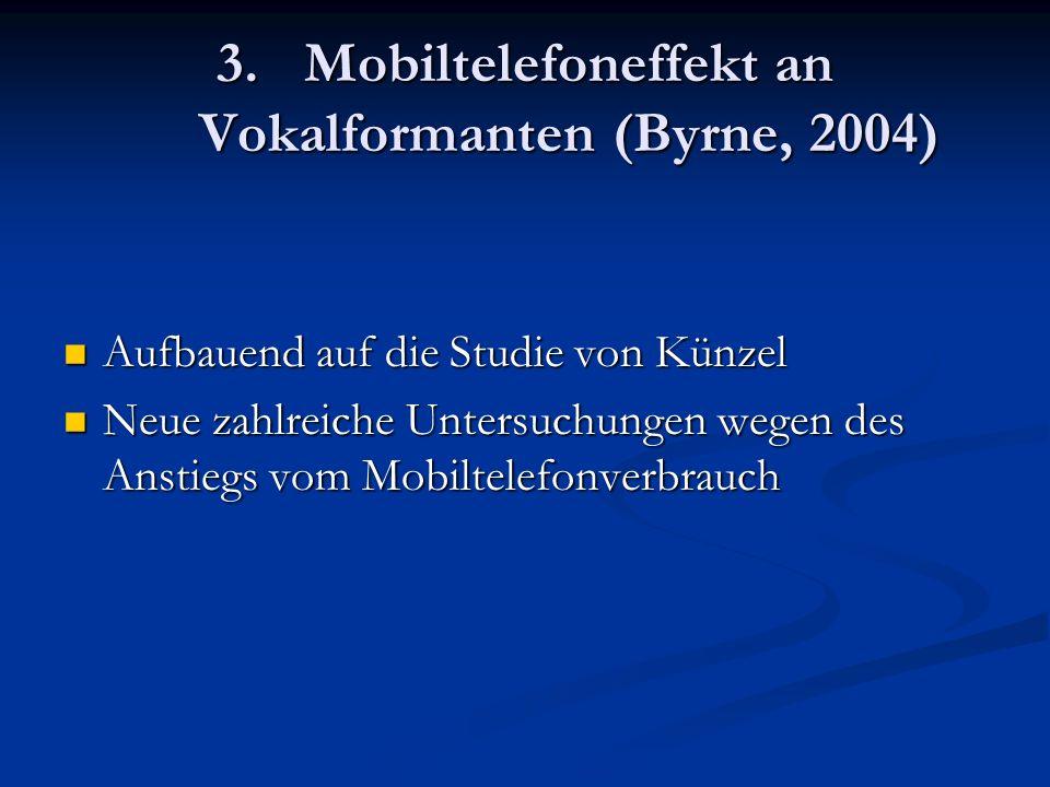 3.Mobiltelefoneffekt an Vokalformanten (Byrne, 2004) Aufbauend auf die Studie von Künzel Aufbauend auf die Studie von Künzel Neue zahlreiche Untersuch