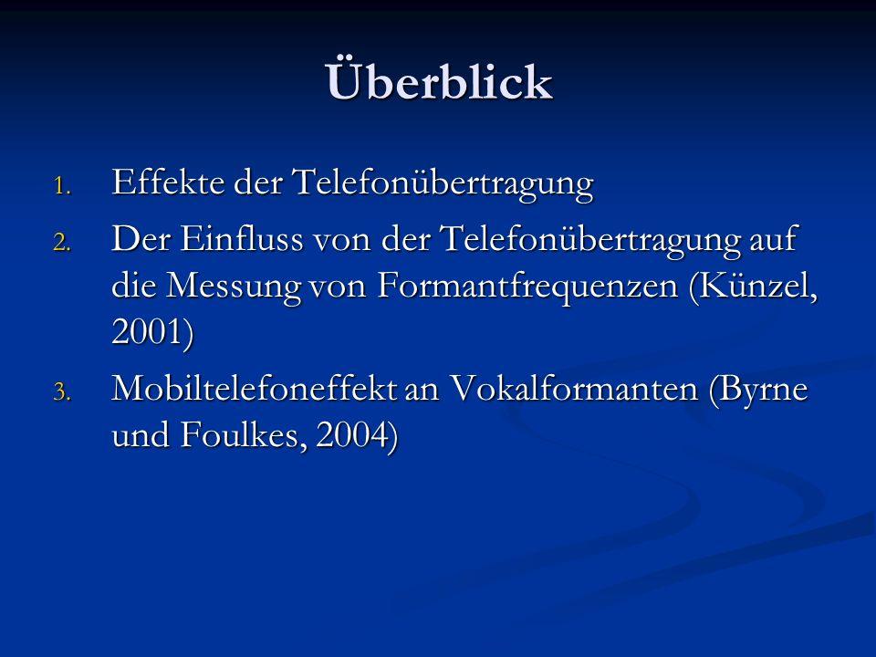 Überblick 1. Effekte der Telefonübertragung 2. Der Einfluss von der Telefonübertragung auf die Messung von Formantfrequenzen (Künzel, 2001) 3. Mobilte