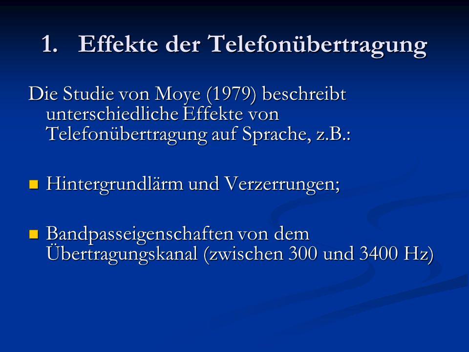 1. Effekte der Telefonübertragung Die Studie von Moye (1979) beschreibt unterschiedliche Effekte von Telefonübertragung auf Sprache, z.B.: Hintergrund