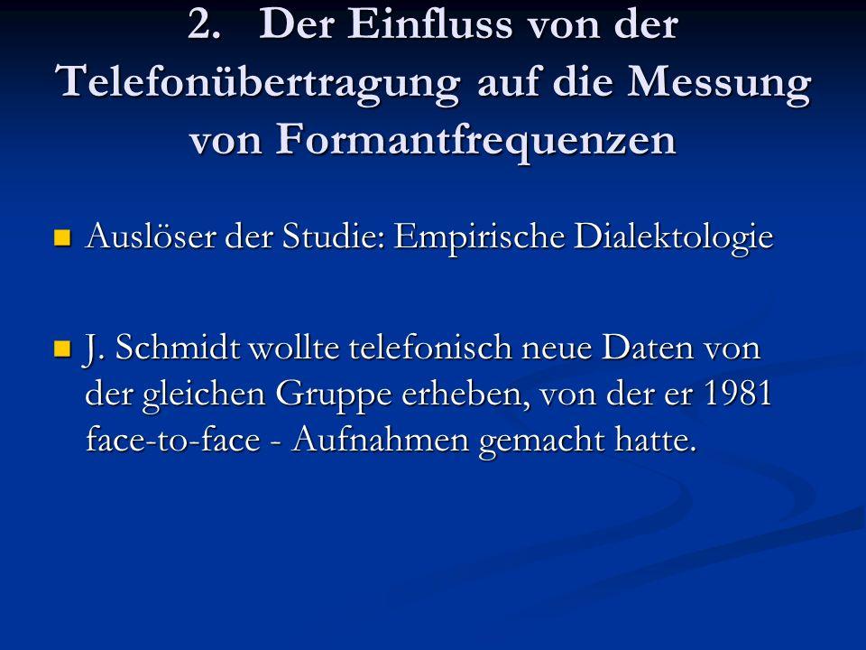 2. Der Einfluss von der Telefonübertragung auf die Messung von Formantfrequenzen Auslöser der Studie: Empirische Dialektologie Auslöser der Studie: Em