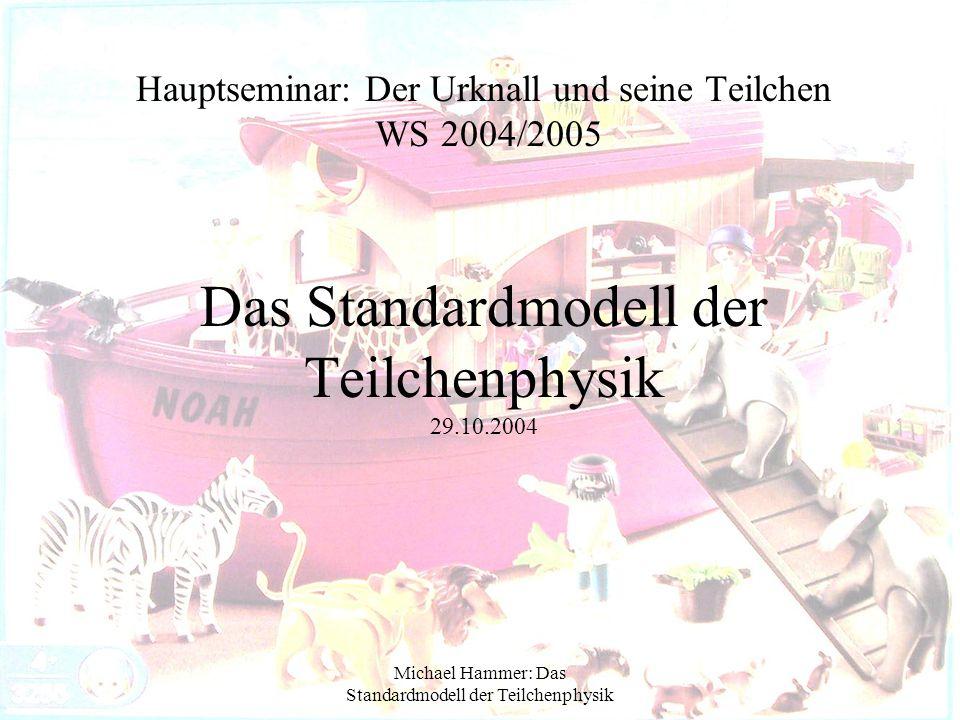 Michael Hammer: Das Standardmodell der Teilchenphysik Literaturempfehlungen Teilchen, Felder und Symmetrien : Quantenfeldtheorie und die Einheit der Naturgesetze, Heidelberg 1985 Bib:2.30 Lehrbücher zu Quantenfeldtheorie, Quantenelektrodynamik, Quantenchromodynamik.
