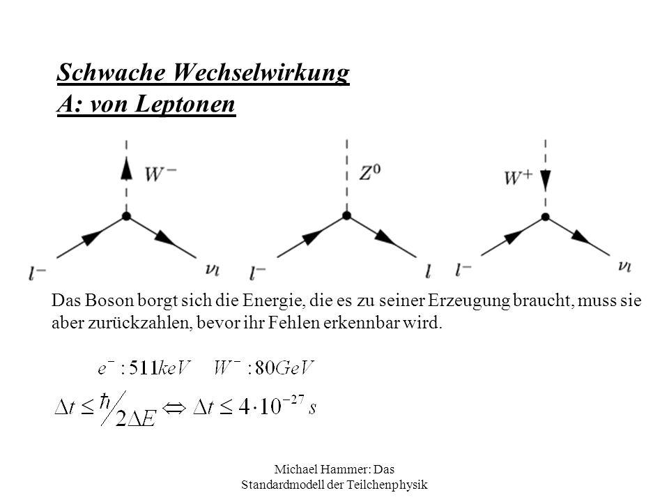 Michael Hammer: Das Standardmodell der Teilchenphysik Schwache Wechselwirkung A: von Leptonen Das Boson borgt sich die Energie, die es zu seiner Erzeu