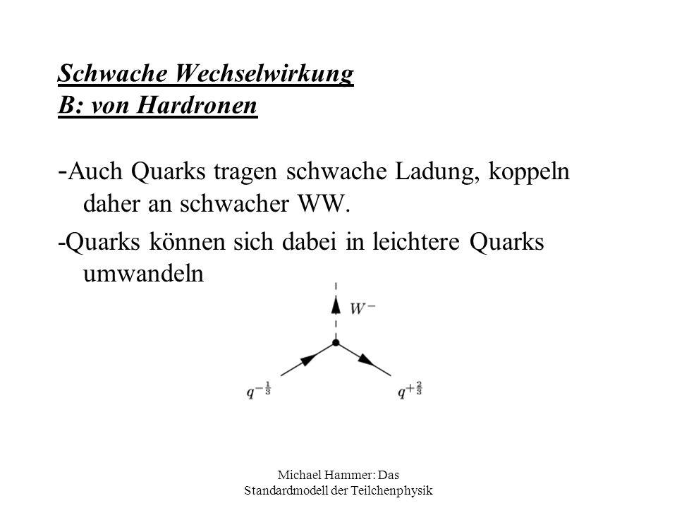 Michael Hammer: Das Standardmodell der Teilchenphysik Schwache Wechselwirkung B: von Hardronen - Auch Quarks tragen schwache Ladung, koppeln daher an