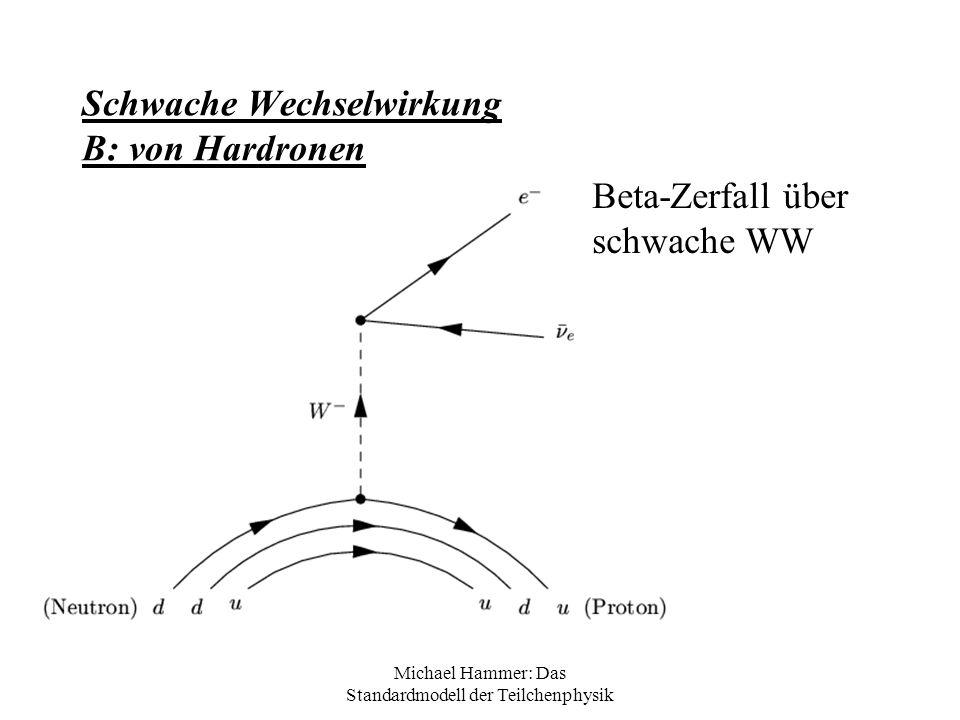 Michael Hammer: Das Standardmodell der Teilchenphysik Schwache Wechselwirkung B: von Hardronen Beta-Zerfall über schwache WW