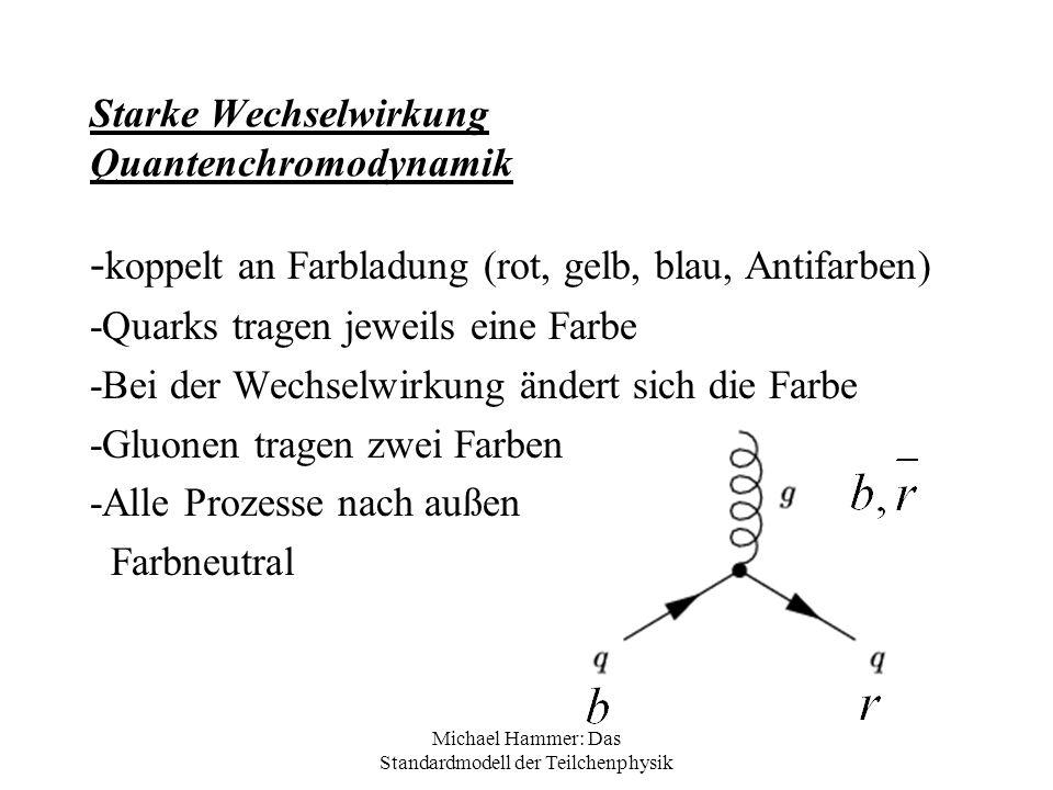 Michael Hammer: Das Standardmodell der Teilchenphysik Starke Wechselwirkung Quantenchromodynamik - koppelt an Farbladung (rot, gelb, blau, Antifarben)