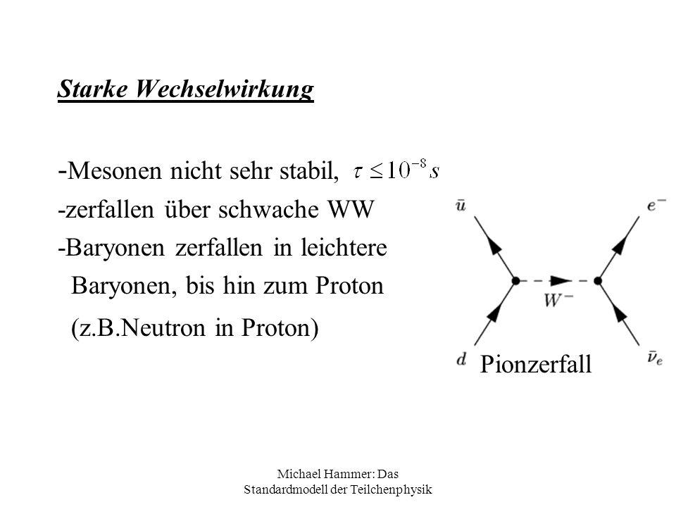 Michael Hammer: Das Standardmodell der Teilchenphysik Starke Wechselwirkung - Mesonen nicht sehr stabil, -zerfallen über schwache WW -Baryonen zerfall