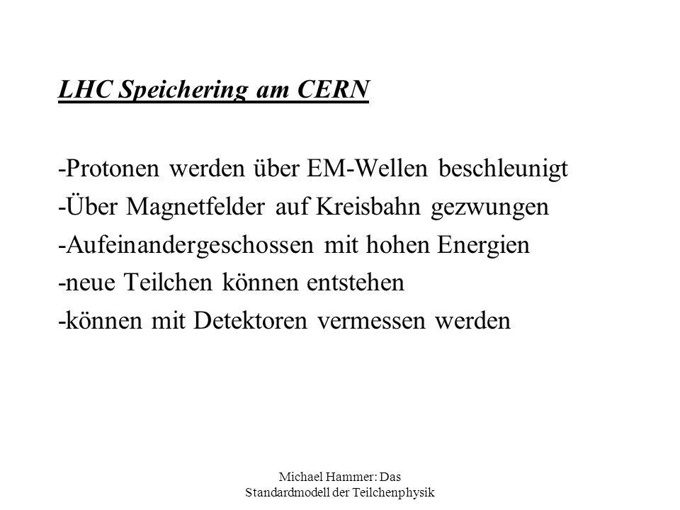 Michael Hammer: Das Standardmodell der Teilchenphysik LHC Speichering am CERN -Protonen werden über EM-Wellen beschleunigt -Über Magnetfelder auf Krei