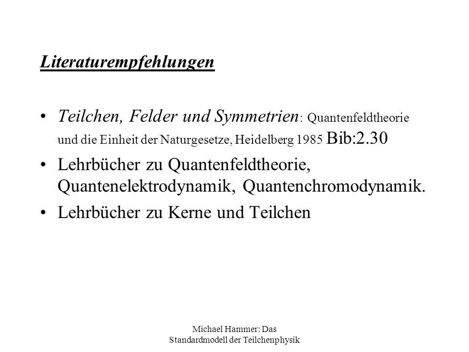 Michael Hammer: Das Standardmodell der Teilchenphysik Literaturempfehlungen Teilchen, Felder und Symmetrien : Quantenfeldtheorie und die Einheit der N