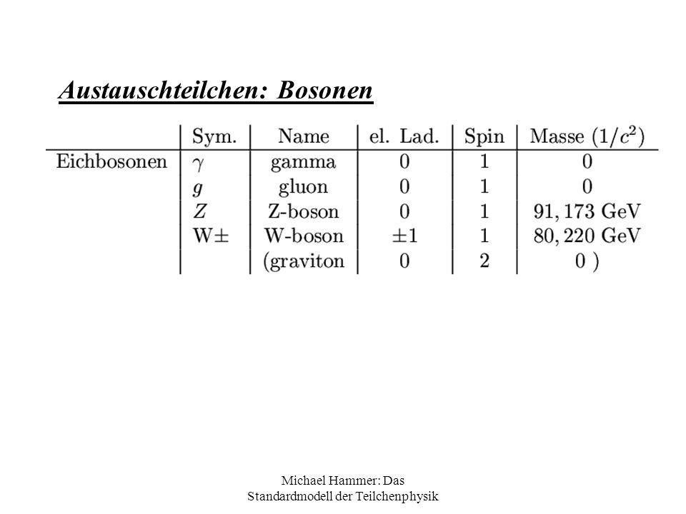 Michael Hammer: Das Standardmodell der Teilchenphysik Klassifizierung von Teilchen: Halbzahliger Spin: Fermionen (ein Teilchen im Zustand A) Ganzzahliger Spin: Bosonen (viele Teilchen im Zustand A) Alle ElementarteilchenAlle Wechselwirkungs- teilchen HardronenQuarks und Baryonen (q,q,q) Mesonen (q,anti-q) Alle Leptonen