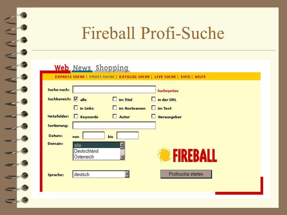 Fireball Profi-Suche