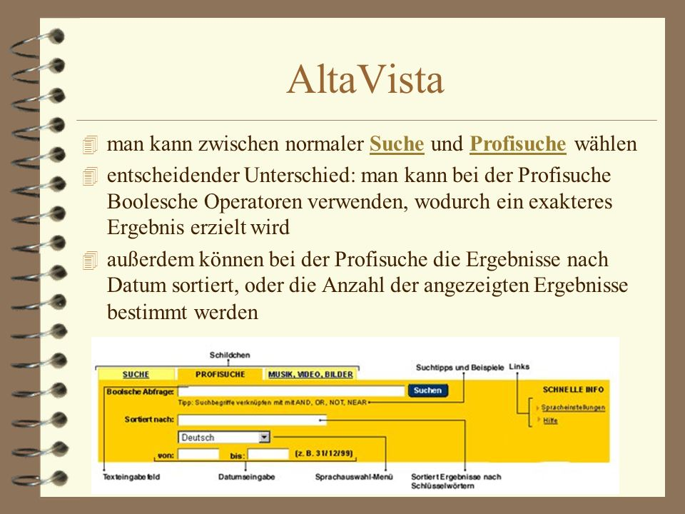 AltaVista 4 man kann zwischen normaler Suche und Profisuche wählenSucheProfisuche 4 entscheidender Unterschied: man kann bei der Profisuche Boolesche