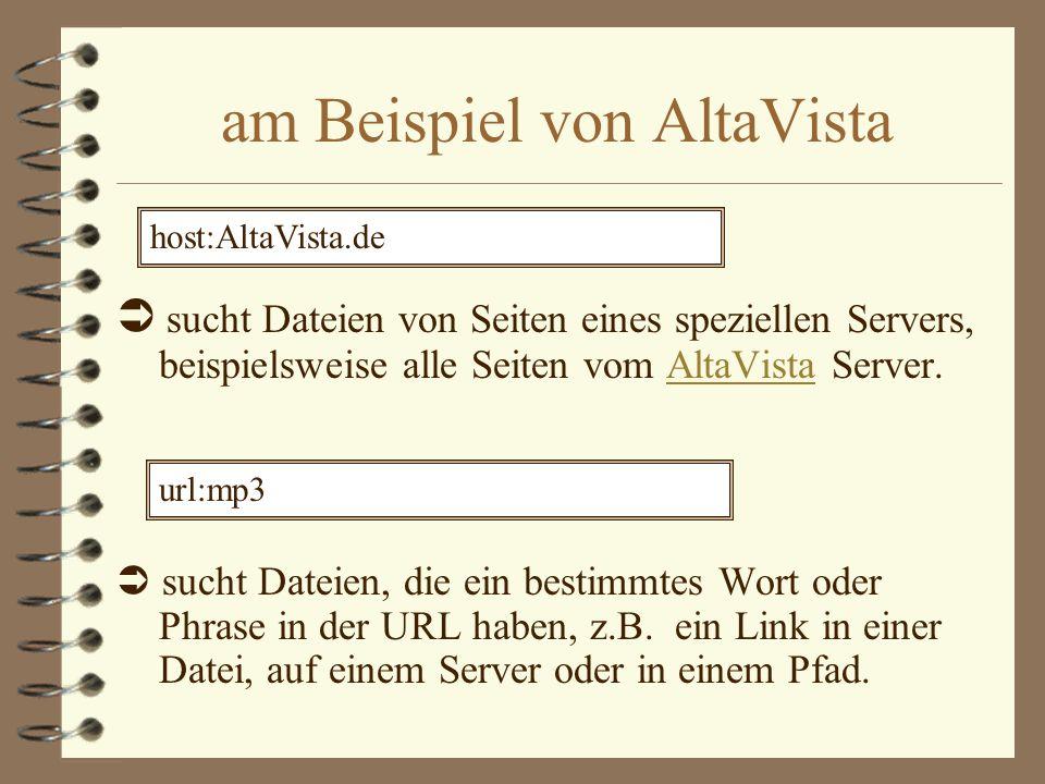 verschiedene Suchmaschinen 4 Lycos Lycos 4 AltaVista AltaVista 4 Fireball Fireball 4 Infoseek Infoseek 4 Spezial-Suchmaschinen Spezial-Suchmaschinen 4 Kataloge &Verzeichnisse Kataloge &Verzeichnisse