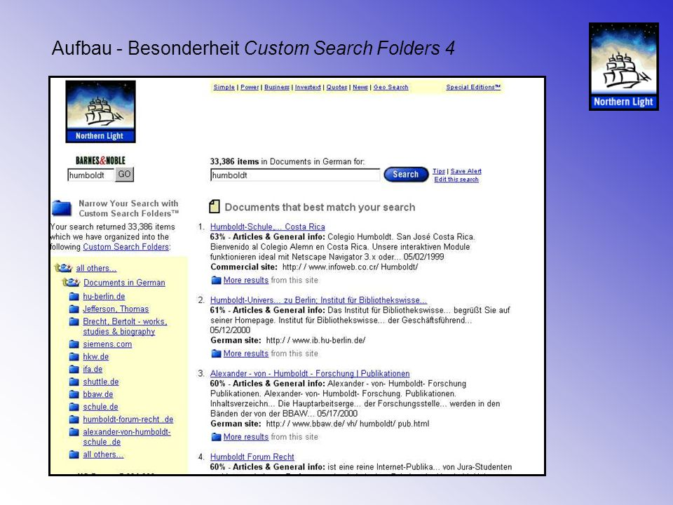 Aufbau - Besonderheit Custom Search Folders 5