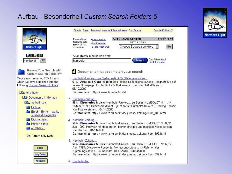Aufbau - Besonderheit Custom Search Folders 5
