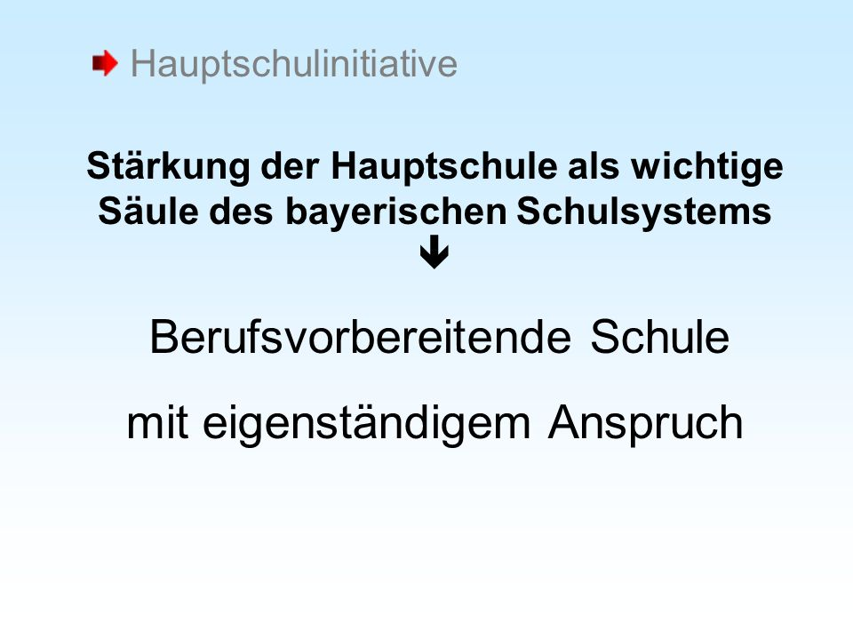 Stärkung der Hauptschule als wichtige Säule des bayerischen Schulsystems Berufsvorbereitende Schule mit eigenständigem Anspruch Hauptschulinitiative