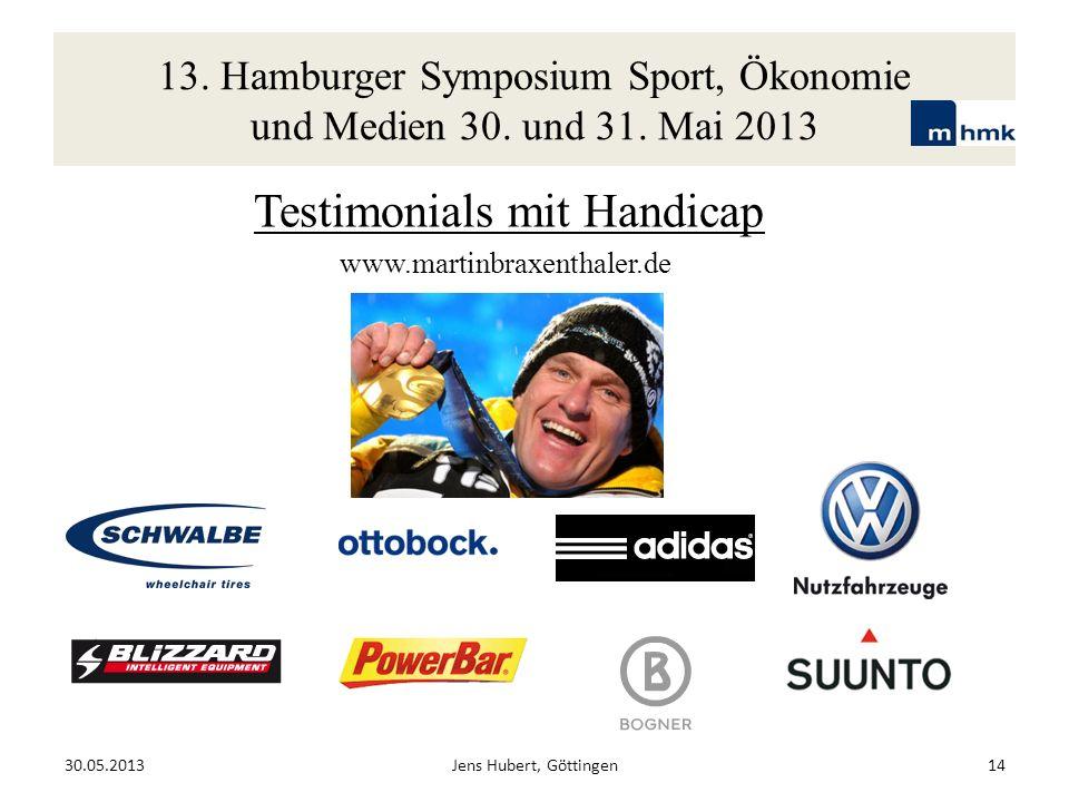 13. Hamburger Symposium Sport, Ökonomie und Medien 30. und 31. Mai 2013 Testimonials mit Handicap www.martinbraxenthaler.de 30.05.2013Jens Hubert, Göt