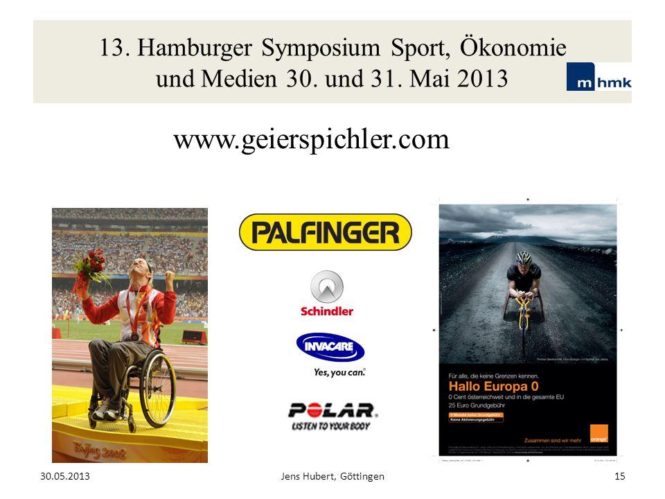13. Hamburger Symposium Sport, Ökonomie und Medien 30. und 31. Mai 2013 www.geierspichler.com 30.05.2013Jens Hubert, Göttingen15