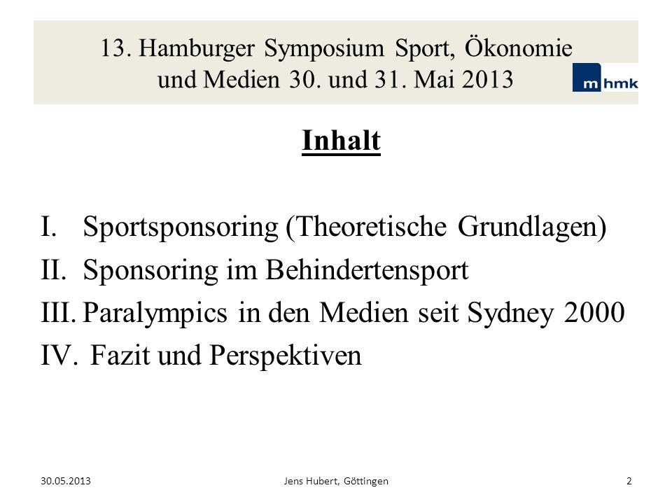 Inhalt I.Sportsponsoring (Theoretische Grundlagen) II.Sponsoring im Behindertensport III.Paralympics in den Medien seit Sydney 2000 IV. Fazit und Pers