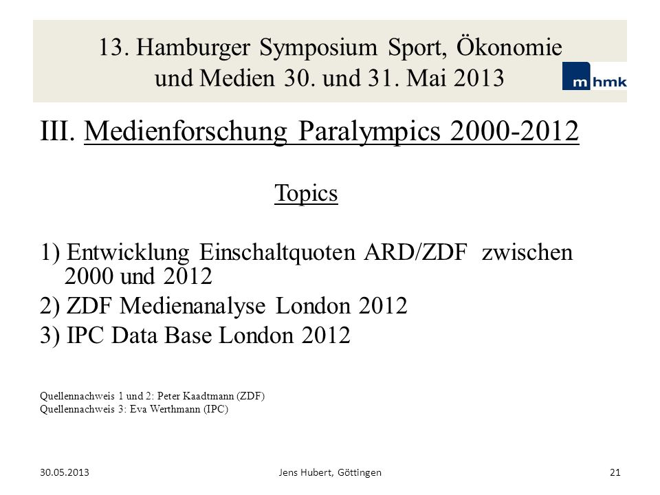 13. Hamburger Symposium Sport, Ökonomie und Medien 30. und 31. Mai 2013 30.05.2013Jens Hubert, Göttingen21 III. Medienforschung Paralympics 2000-2012