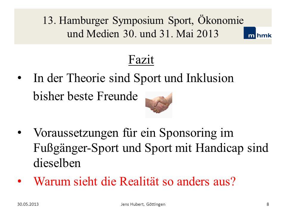 13. Hamburger Symposium Sport, Ökonomie und Medien 30. und 31. Mai 2013 Fazit In der Theorie sind Sport und Inklusion bisher beste Freunde Voraussetzu