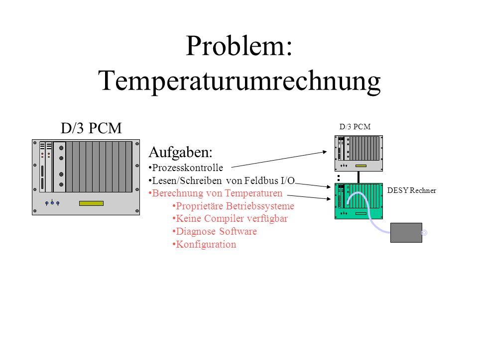 Problem: Temperaturumrechnung Aufgaben: Prozesskontrolle Lesen/Schreiben von Feldbus I/O Berechnung von Temperaturen Proprietäre Betriebssysteme Keine