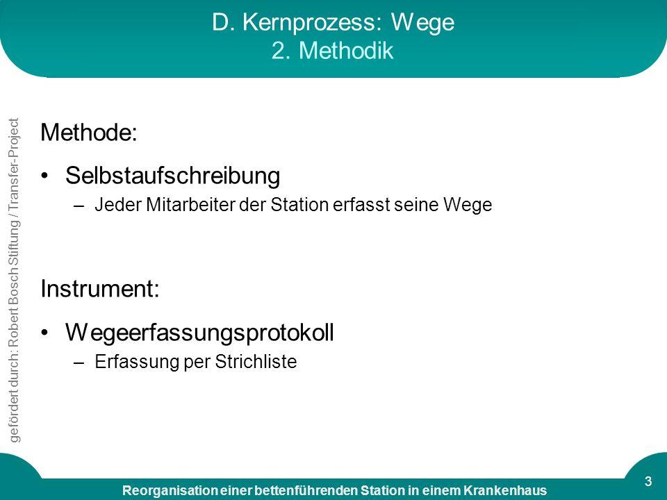 Reorganisation einer bettenführenden Station in einem Krankenhaus gefördert durch: Robert Bosch Stiftung / Transfer-Project 3 D. Kernprozess: Wege 2.