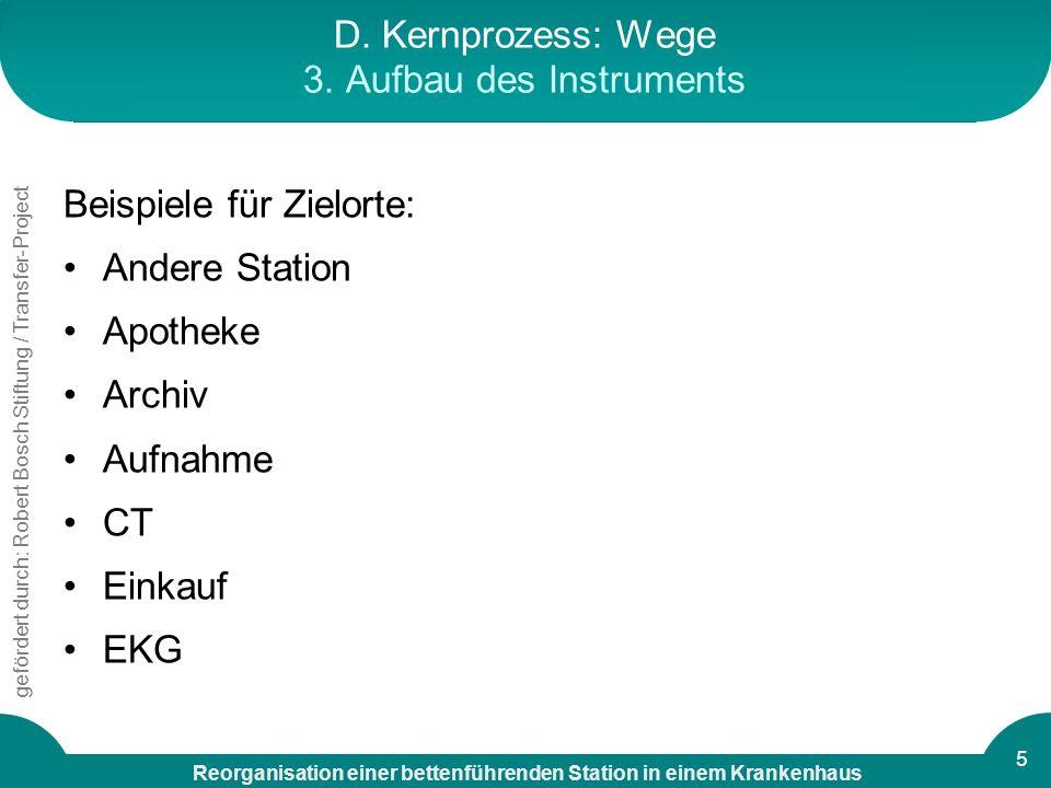 Reorganisation einer bettenführenden Station in einem Krankenhaus gefördert durch: Robert Bosch Stiftung / Transfer-Project 5 D. Kernprozess: Wege 3.
