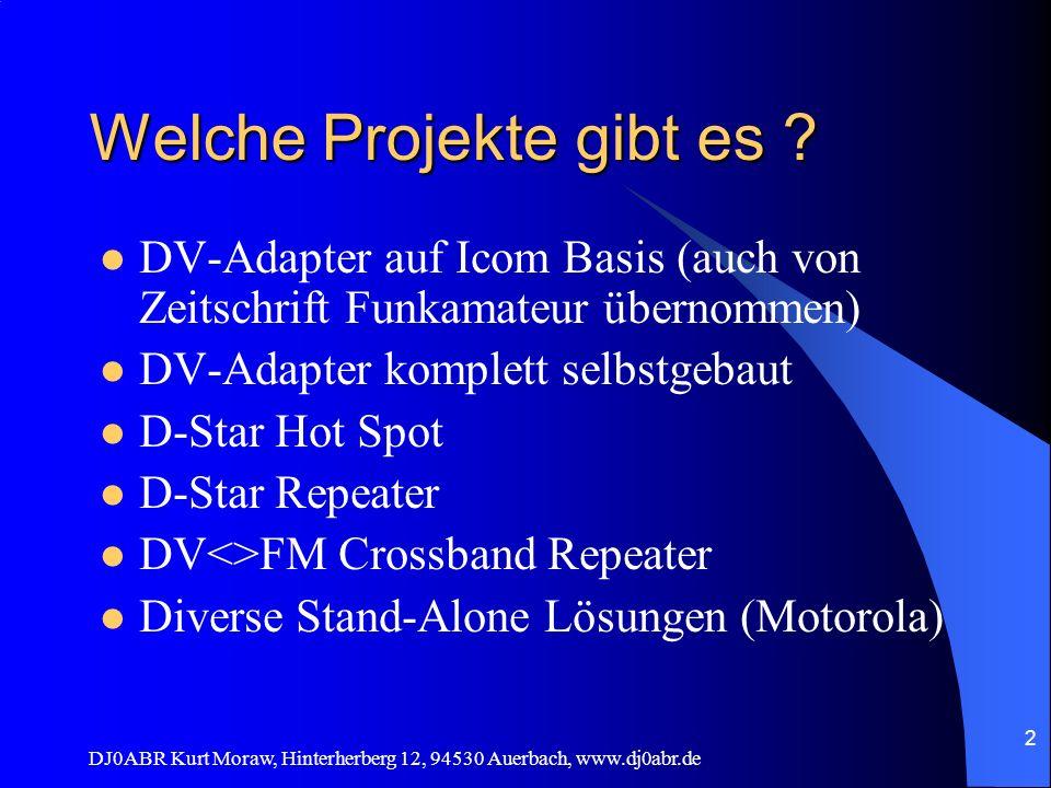 DJ0ABR Kurt Moraw, Hinterherberg 12, 94530 Auerbach, www.dj0abr.de 2 Welche Projekte gibt es ? DV-Adapter auf Icom Basis (auch von Zeitschrift Funkama