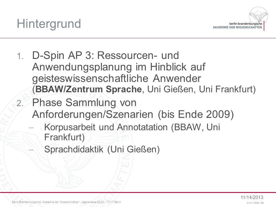 Berlin-Brandenburgische Akademie der Wissenschaften Jägerstrasse 22/23 10117 Berlin www.bbaw.de 11/14/2013 Hintergrund 1. D-Spin AP 3: Ressourcen- und