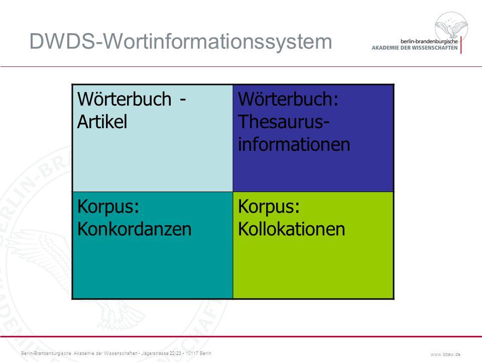Berlin-Brandenburgische Akademie der Wissenschaften Jägerstrasse 22/23 10117 Berlin www.bbaw.de DWDS-Wortinformationssystem Wörterbuch - Artikel Wörte