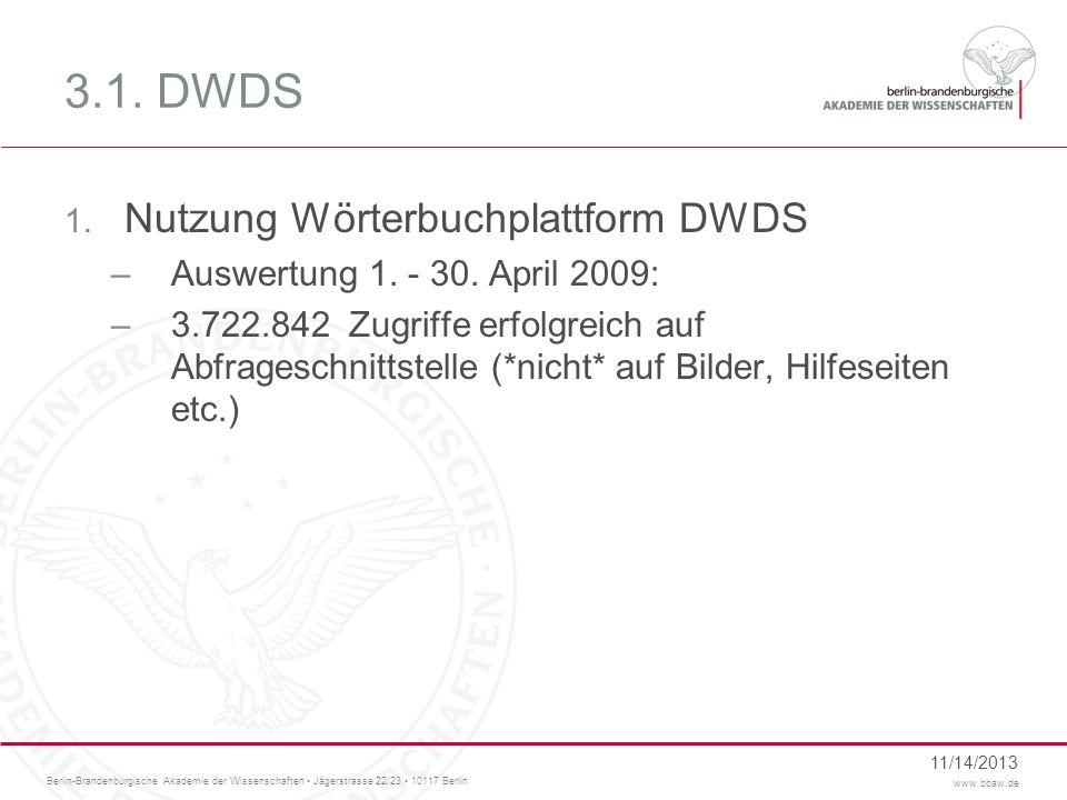 Berlin-Brandenburgische Akademie der Wissenschaften Jägerstrasse 22/23 10117 Berlin www.bbaw.de 3.1. DWDS 1. Nutzung Wörterbuchplattform DWDS –Auswert