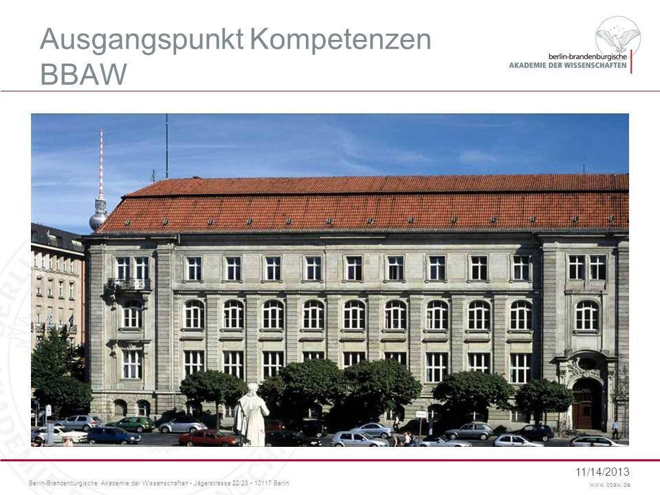 Berlin-Brandenburgische Akademie der Wissenschaften Jägerstrasse 22/23 10117 Berlin www.bbaw.de BBAW - Geschichtliches Gegründet von Leibniz in 1700 Internationale Anerkennung als Preußische Akademie der Wissenschaften Unter ihren Mitgliedern waren: Kant, Grimm, Humboldt, Planck, Einstein… 11/14/2013