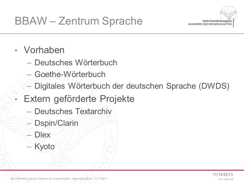 Berlin-Brandenburgische Akademie der Wissenschaften Jägerstrasse 22/23 10117 Berlin www.bbaw.de BBAW – Zentrum Sprache Vorhaben –Deutsches Wörterbuch