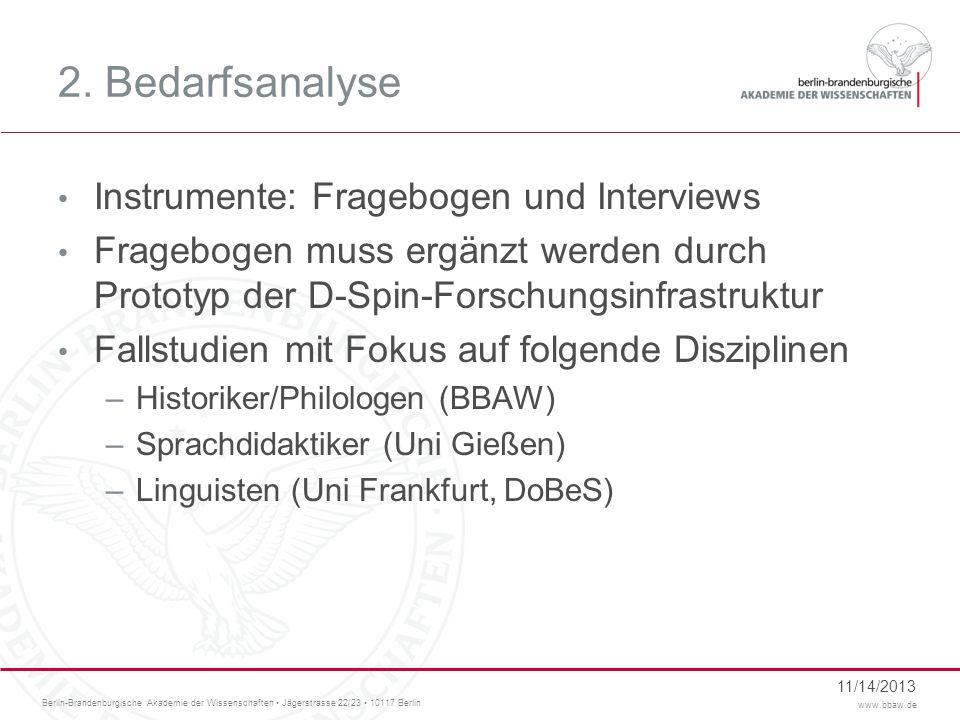 Berlin-Brandenburgische Akademie der Wissenschaften Jägerstrasse 22/23 10117 Berlin www.bbaw.de 2.1 Fragebogen Online Fragebogen –Umfrage bei H-soz-kult / Gesprächsforschung –Forum Gesprächsforschung –URL: http://www.onlineumfragen.com/ http://www.onlineumfragen.com/login.cfm?umfrage=10440&ttuid=D1E7401E- 1D09-676D-A6A031D1AF9E859Bhttp://www.onlineumfragen.com/ http://www.onlineumfragen.com/login.cfm?umfrage=10440&ttuid=D1E7401E- 1D09-676D-A6A031D1AF9E859B 11/14/2013
