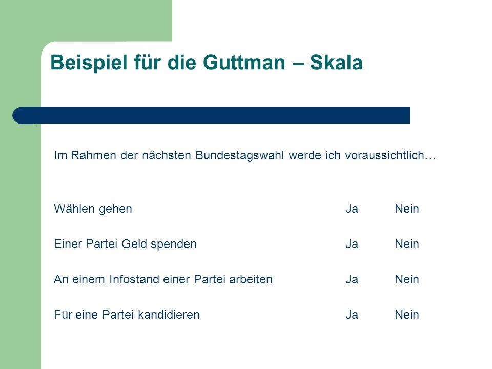 Beispiel für die Guttman – Skala Im Rahmen der nächsten Bundestagswahl werde ich voraussichtlich… Wählen gehenJaNein Einer Partei Geld spendenJaNein A