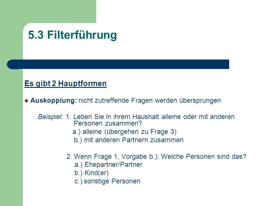 5.3 Filterführung Es gibt 2 Hauptformen Auskopplung: nicht zutreffende Fragen werden übersprungen Beispiel: 1. Leben Sie in ihrem Haushalt alleine ode