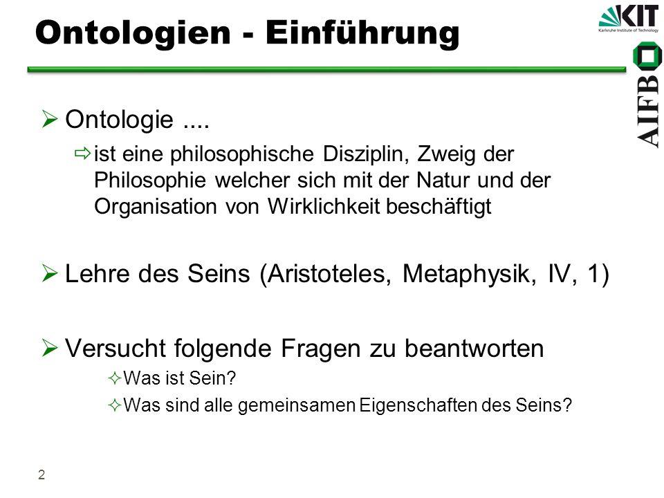 2 Ontologien - Einführung Ontologie.... ist eine philosophische Disziplin, Zweig der Philosophie welcher sich mit der Natur und der Organisation von W