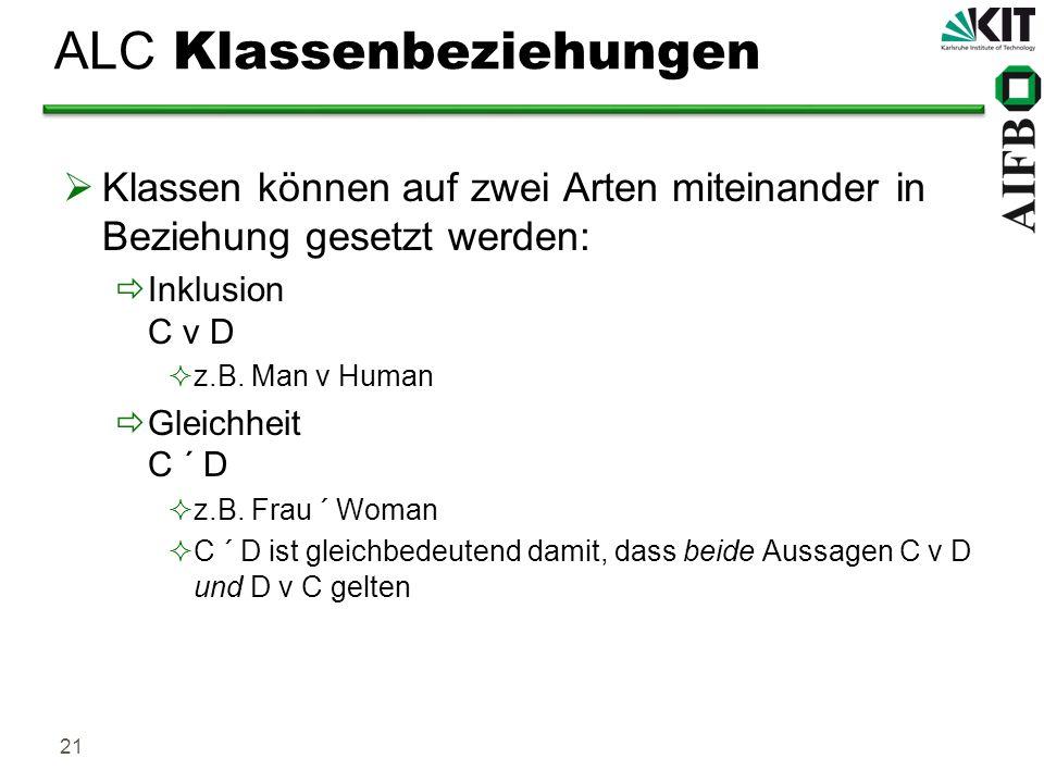 21 ALC Klassenbeziehungen Klassen können auf zwei Arten miteinander in Beziehung gesetzt werden: Inklusion C v D z.B. Man v Human Gleichheit C ´ D z.B