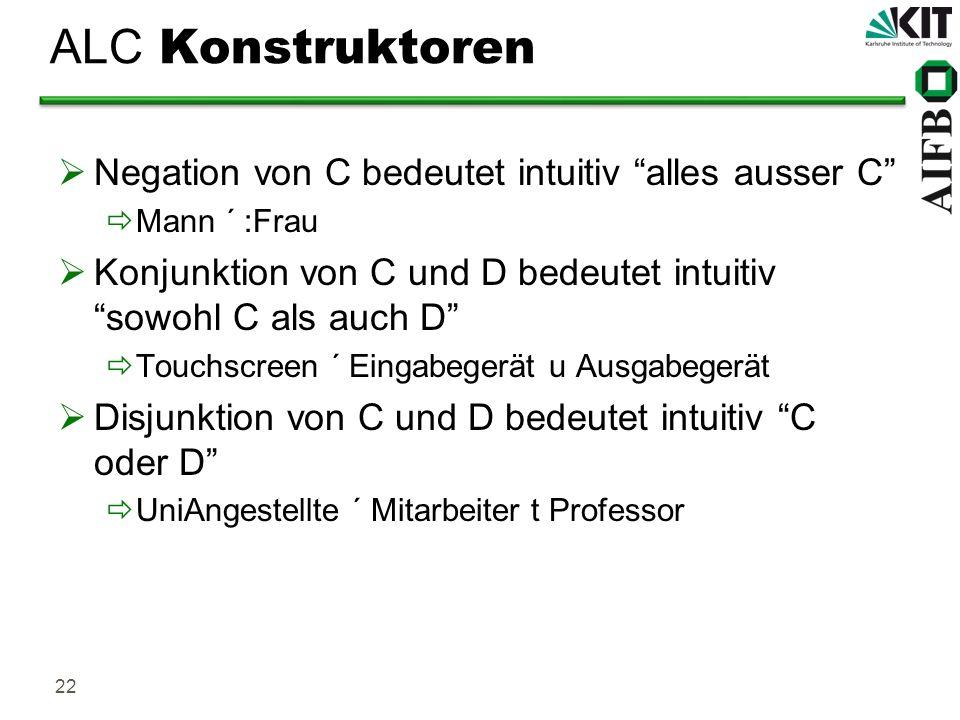 22 ALC Konstruktoren Negation von C bedeutet intuitiv alles ausser C Mann ´ :Frau Konjunktion von C und D bedeutet intuitiv sowohl C als auch D Touchs